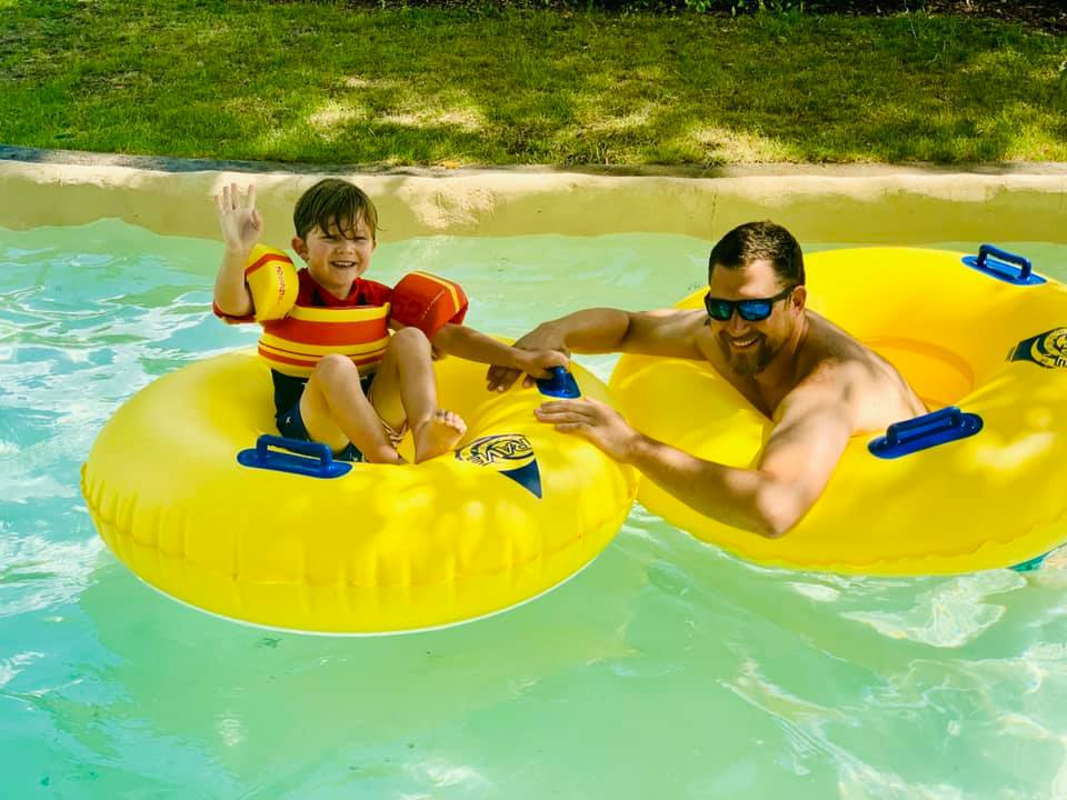 Dad and Son on the Lazy River