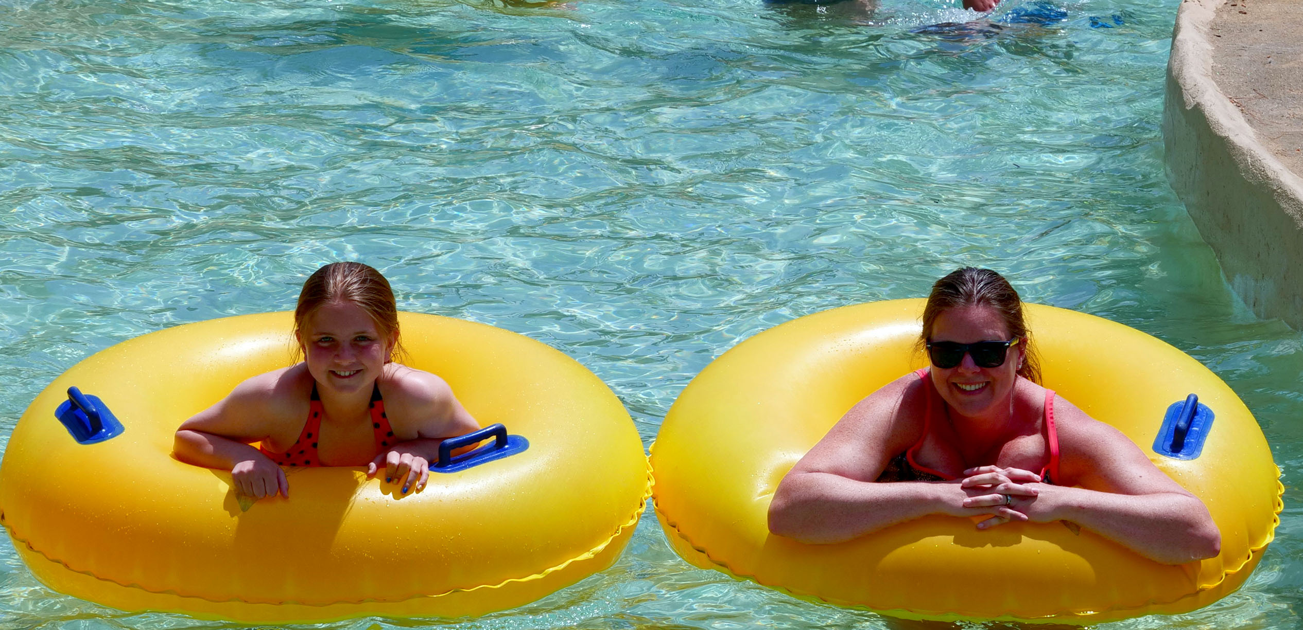 Mom and Daughter in the Lazy River