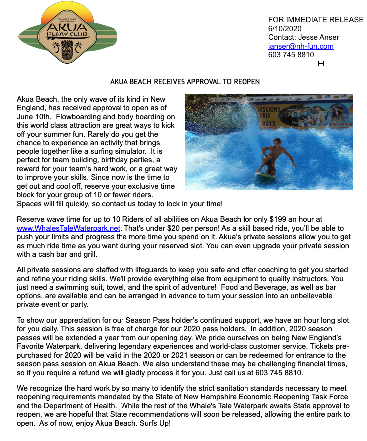 Akua Beach Press Release