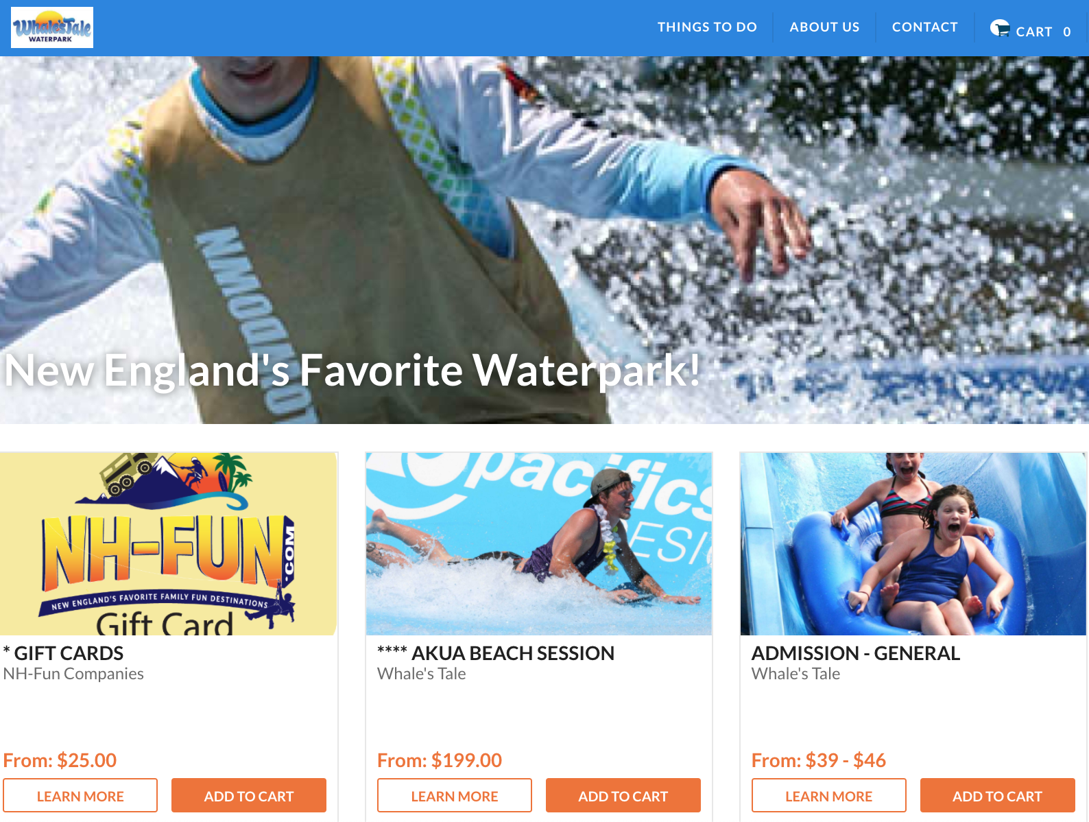 Whale's Tale Waterpark Website Screenshot